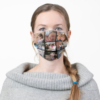 Personalized photo collage with nine photos black adult cloth face mask