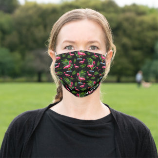 Personalized Pink Flamingo on Black Adult Cloth Face Mask
