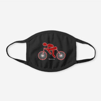 Personalized Red And White Cyclist Cycling Black Cotton Face Mask