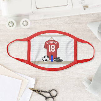 Personalized Red and White Football Soccer Face Mask