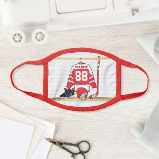 Personalized Red and White Ice Hockey Jersey Face Mask