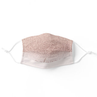 Personalized rose gold glitter ombre blush pink adult cloth face mask