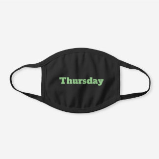Personalized Sage Green Text or Day of the Week Black Cotton Face Mask