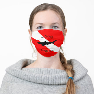 Personalized Scuba Diving Flag and Shark Adult Cloth Face Mask
