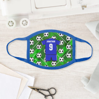 Personalized Soccer Jersey Blue with White Face Mask