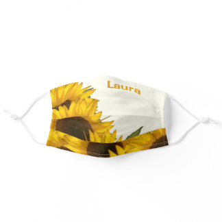 Personalized Sunflowers Adult Cloth Face Mask
