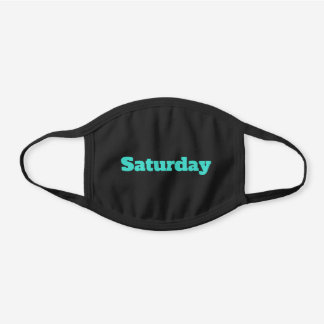 Personalized Turquoise Text or Day of the Week Black Cotton Face Mask