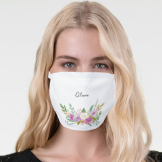 Personalized Watercolor Pink and Purple Flowers Face Mask