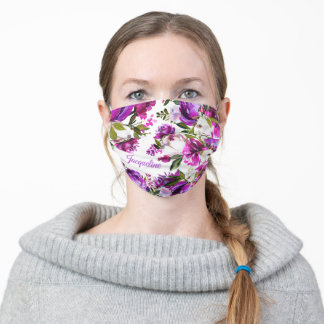 Personalized Watercolor Pink Floral Adult Cloth Face Mask