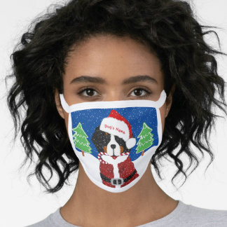 Personalized Xmas Bernese Mt Dog Santa Paws Blue Face Mask