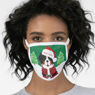 Personalized Xmas Bernese Mt Dog Santa Paws Green Face Mask