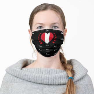 Peru Flag & Heart, Peruvian Flag fashion /sports Adult Cloth Face Mask
