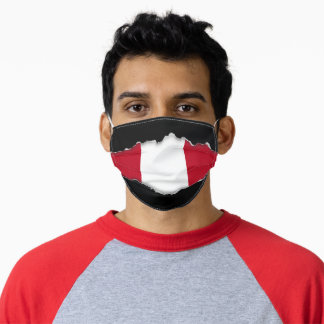 Peruvian Flag | Faux Torn Out Look Adult Cloth Adult Cloth Face Mask