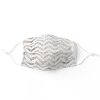 Pewter and Cream Zig Zag Chevron Cloth Face Mask