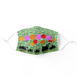 Pharmacist Cats and Flowers Green Adult Cloth Face Mask