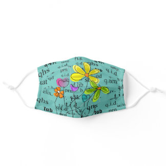 Pharmacy Abbreviations and Flowers Green Adult Cloth Face Mask
