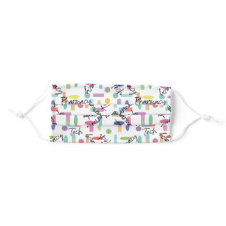 Pharmacy Tech with colorful pills illustrated Adult Cloth Face Mask