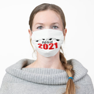 PhD Grad 2021 Caps And Diplomas (Red) Adult Cloth Face Mask
