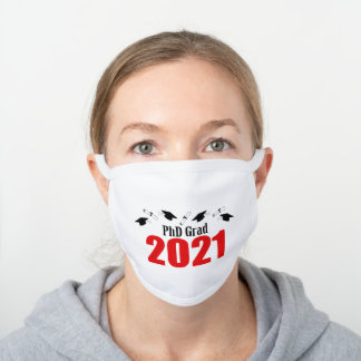 PhD Grad 2021 Caps And Diplomas (Red) White Cotton Face Mask