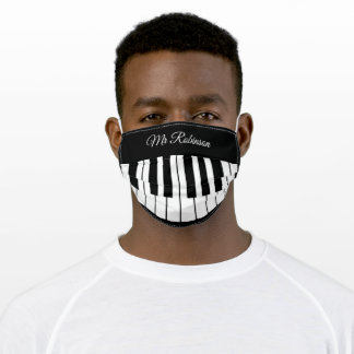 Piano Music Teacher | Personalized Name Adult Cloth Face Mask