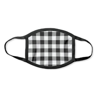 Pick Any 2 Color Buffalo Plaid Pattern Black White Face Mask
