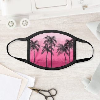 Pick Any Color Cute Ombre Pink Black Palm Tree Face Mask