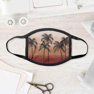 Pick Any Color Rustic Tan Burgundy Black Palm Tree Face Mask