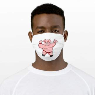 Pig as Bodybuilder with big Belly Adult Cloth Face Mask
