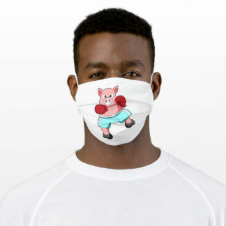 Pig as Boxer with Boxing gloves Adult Cloth Face Mask