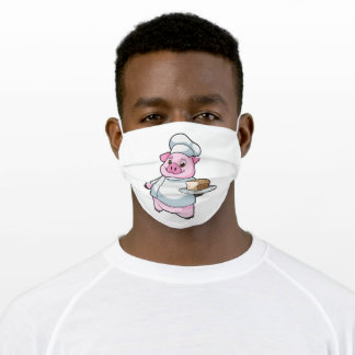 Pig as Chef with Platter & Cake Adult Cloth Face Mask