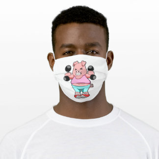 Pig at Bodybuilding with Dumbbells Adult Cloth Face Mask
