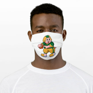 Pig at Sports with Football & Helmet Adult Cloth Face Mask