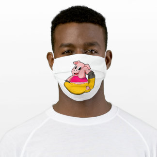 Pig at Yoga funny Adult Cloth Face Mask