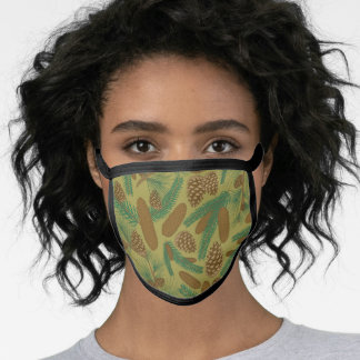 Pine tree and cone pattern with mustard background face mask