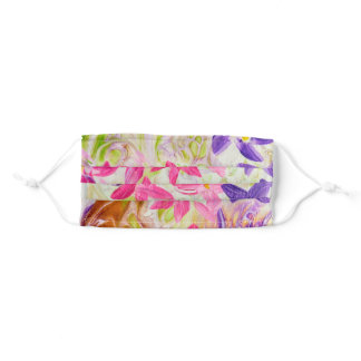 Pink Abstract Floral Adult Cloth Face Mask