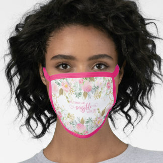 Pink All Things Are Possible Bible Verse Scripture Face Mask