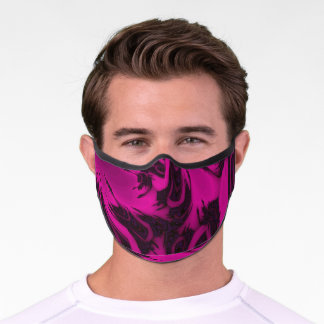 Pink and Black Fractal. Premium Face Mask