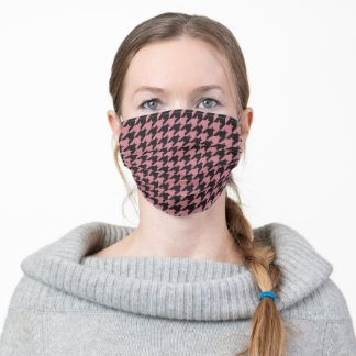 Pink and Black Houndstooth Pattern Adult Cloth Face Mask