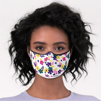 Pink, and Blue Floral  Premium Face Mask