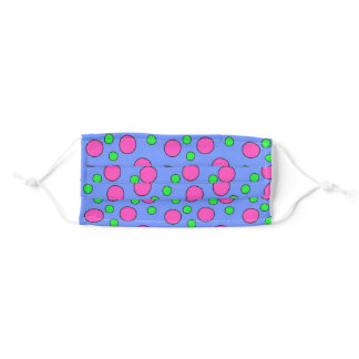 Pink and green dots on periwinkle adult cloth face mask
