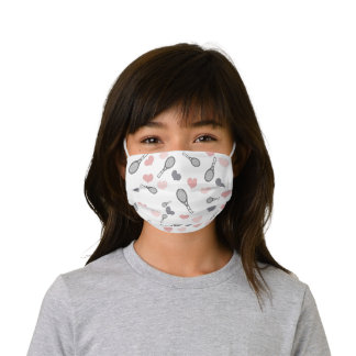 Pink and Grey Hearts and Tennis Racket Sport Style Kids' Cloth Face Mask