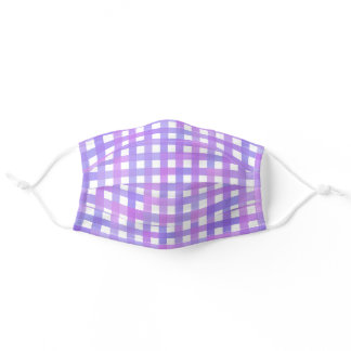 Pink and Purple Gingham Check Adult Cloth Face Mask