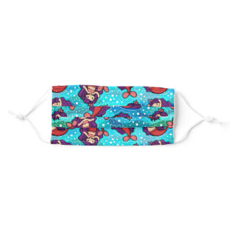 Pink and Purple Mermaid Seamless Pattern Adult Cloth Face Mask