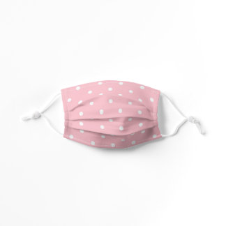 Pink and White Polka Dot Kids' Cloth Face Mask