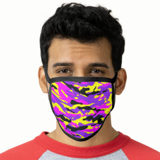 Pink and Yellow Camo Print Custom Color Face Mask
