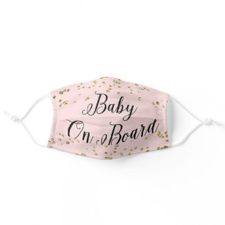 Pink Baby On Board Mommy To Be Adult Cloth Face Mask
