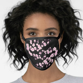 Pink Black Cherry Blossoms Face Mask