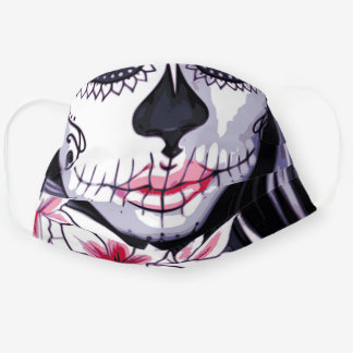 Pink Black Day of the Dead Halloween Floral Skull Cloth Face Mask