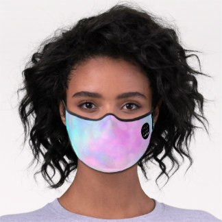 Pink Blue Holographic Pastels Abstract Logo Name Premium Face Mask