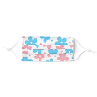 Pink blue white flowers trans pride adult cloth face mask